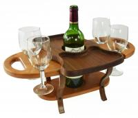wine bottle and glasses stand- holds one bottle, four glasses