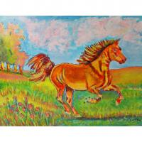 """Horse in Field"" acrylic on wood made in Catlettsburg, KY USA"