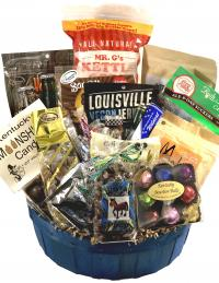 Contains:<ul> <li>Fleur De Lis bourbon ball candies</li><li>Ale-8-One soft drinks (2)</li><li>Lexington Coffee & Tea's Moka Jo mix</li><li>Webb's teriyaki jerky(4)</li><li>Mr. G's gourmet kettle corn</li><li>Fluer De Lis Horse poop candy</li><li>Bauer's C