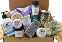 A box packed with Kentucky's finest bath & body products