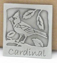 cardinal magnet - pewter by Gastineau in Berea, KY USA
