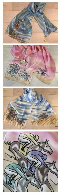 handprinted silk Derby scarf
