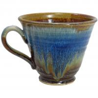 multi-blue glaze cafe mug