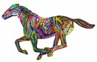 Multi-colored horse made of recycled aluminum