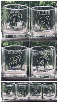 Win Place Show Trifecta glassware set